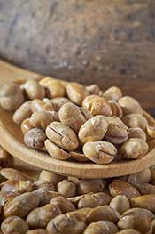 Roasted Soybeans on a Wooden Bowl.