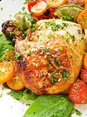 Roast Chicken With Kumquats and Cherry Tomatoes.