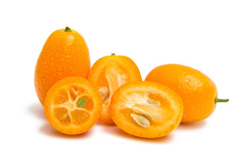 Several Whole and Half Pieces of Kumquat.