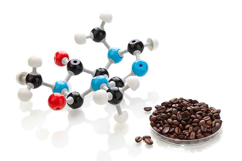A Picture of the Molecular Structure of Caffeine and Coffee Beans.