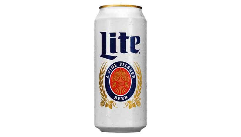 Can of Miller Lite Pilsener Lager Beer.