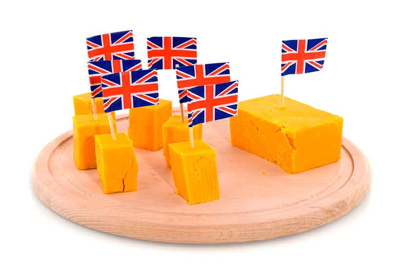 Cheddar Cheese Pieces With Mini British Flags in Them.