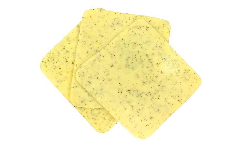 Slices of Danish Cream Havarti Cheese.