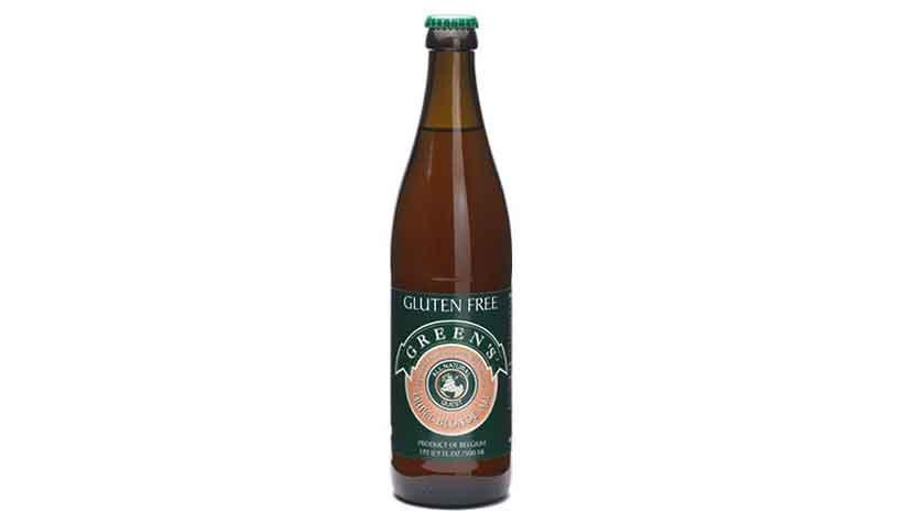 A Dark Brown Bottle of Greens Tripel Blond Ale.