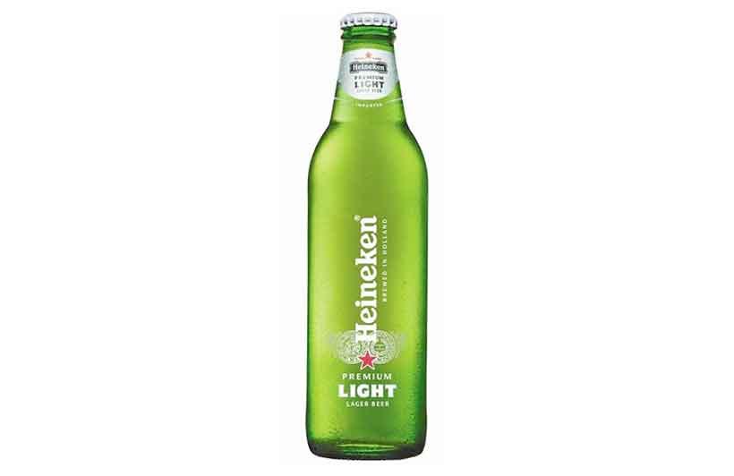 A Light Green Glass Bottle of Heineken Light Premium Beer.