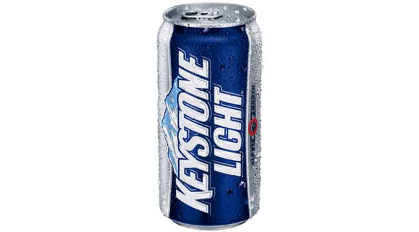 Blue and Silver Can of Keystone Light Beer.