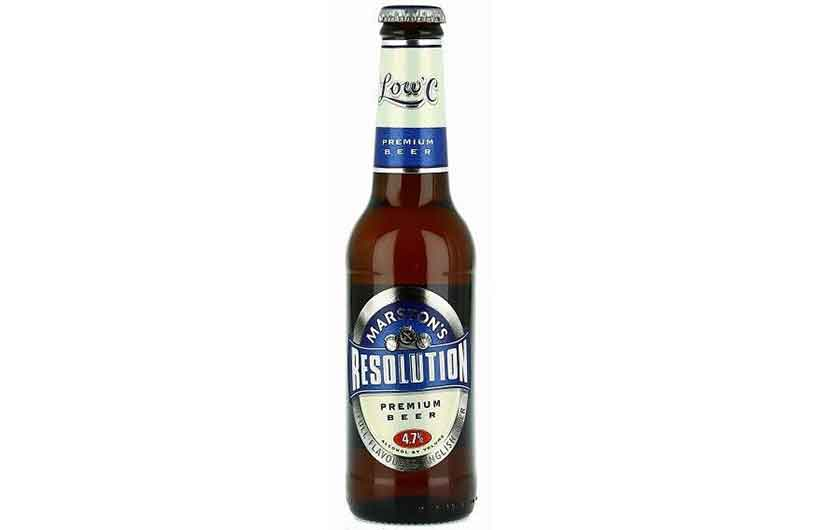 Bottle of Marston's Resolution Low Carb Beer.