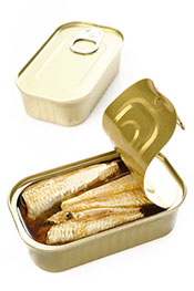 Sardines Packed In Olive Oil In An Open Can.