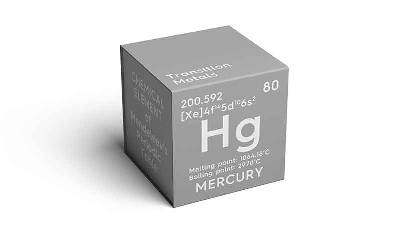 A Cube Showing the Periodic Element For Mercury (Hg).