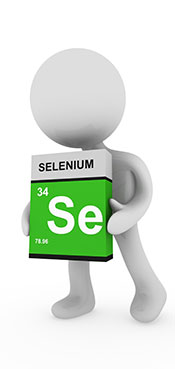 Picture of a Cartoon Man Holding a Selenium (Se) Element Sign.