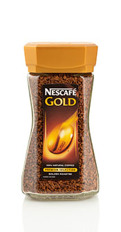 Picture of a Jar of Nescafe Gold Instant Coffee.