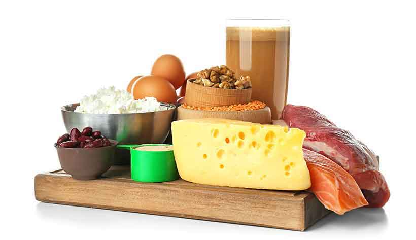 Foods Rich In Protein Including Dairy, Meat and Fish.