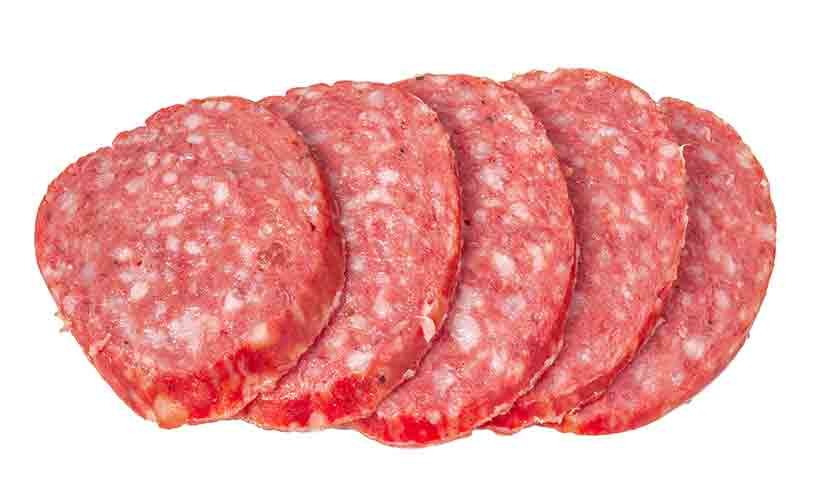 Several Slices of Pepperoni Meat.