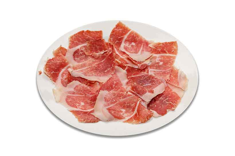 Many Slices of Jamon Cured Meat on a Plate.