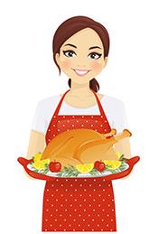 A Cartoon Lady Holding a Roasted Turkey On a Plate.