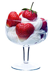 Fresh Strawberries in a Glass Covered With Thick Heavy Cream.