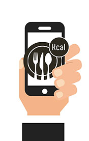 A Man's Hand Holding a Calorie Counting Diet Smart Phone App.