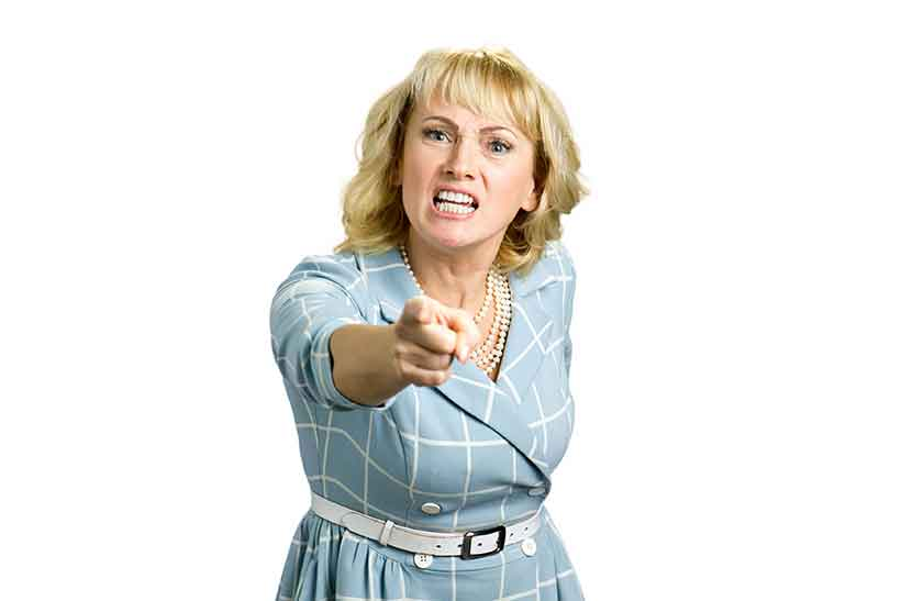 An Angry Irritated Woman Pointing and Shouting.