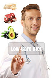 A Doctor Next To Various Low Carb Foods Including Steak, Avocado, Macadamia Nuts.