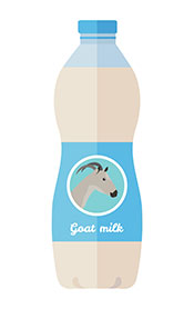 A Bottle of Goat Milk With Goat Picture on the Packaging.