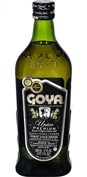 A 500ml Glass Bottle of Goya's Ultra Premium Extra Virgin Olive Oil.