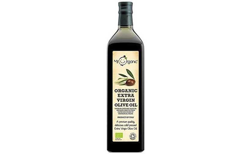 Dark Glass Bottle of Mr Organic Extra Virgin Olive Oil.