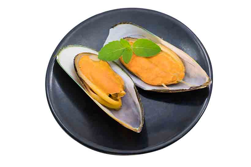 Mussels In Their Open Shell On a Plate.