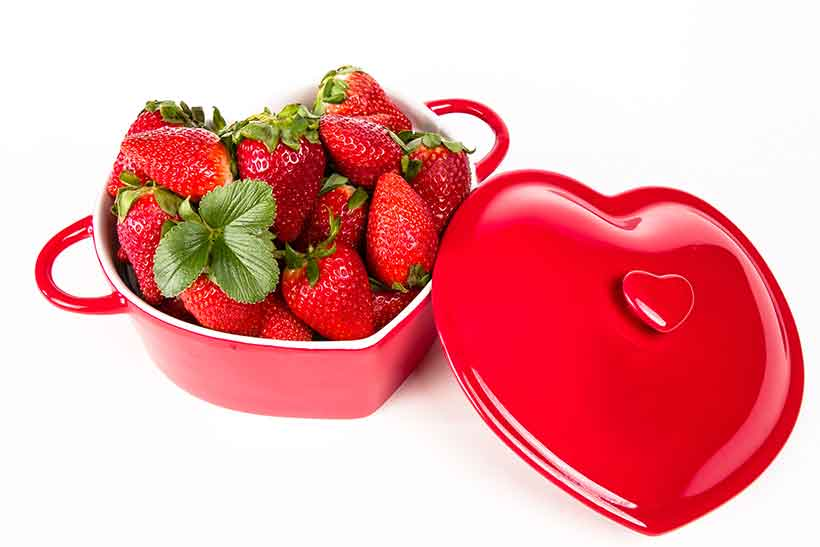 Strawberries In a Heart-Shaped Red Tin.