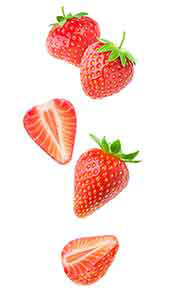 Whole and Halved Strawberries In a Line.