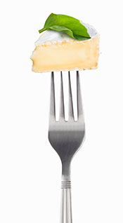 A Piece of Camembert on a Fork.