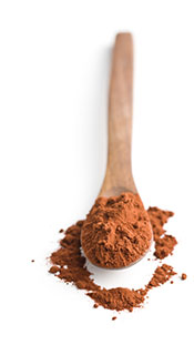 A Wooden Spoon Full of Cocoa Powder.