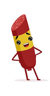 A Cartoon Image of a Salami Sausage Smiling.