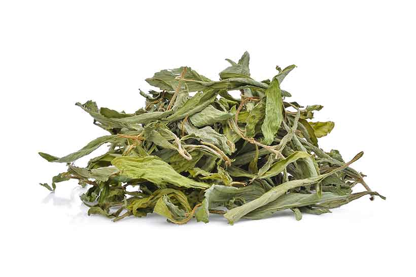 Dried Whole Green Stevia Leaves.