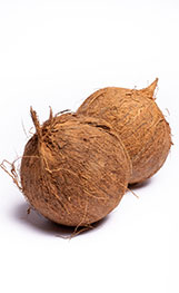 Two Whole Hairy Brown Coconuts.
