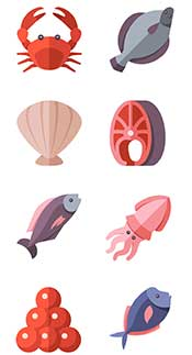 An Illustration Showing Various Types of Healthy Seafood - Fish and Shellfish.