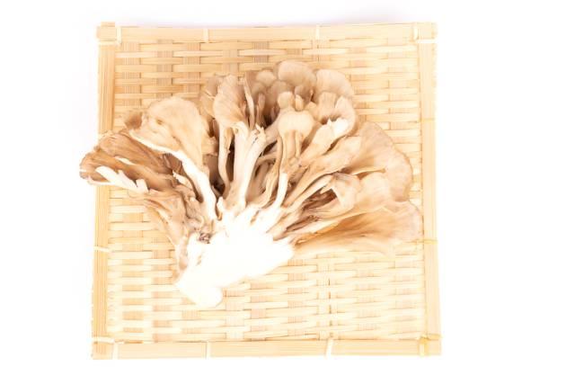 Maitake Mushrooms On a Bamboo Plate.