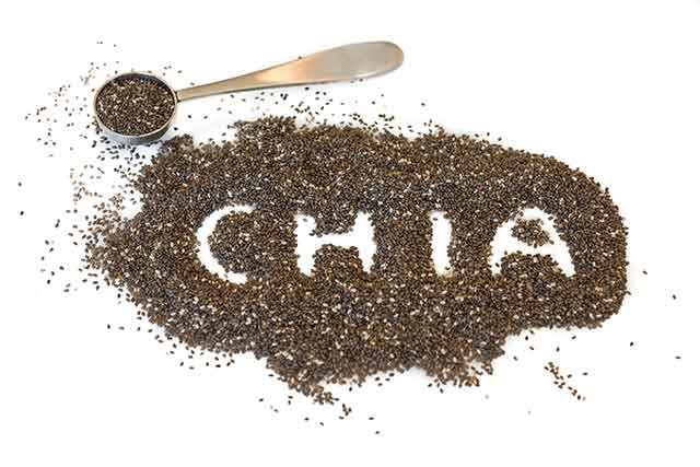 """Pile of Chia Seeds Spelling the Word """"Chia""""."""