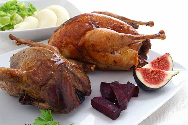 Roast Pheasant Meat On a Plate.