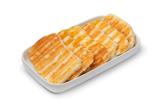 Slices of Grilled Halloumi Cheese.