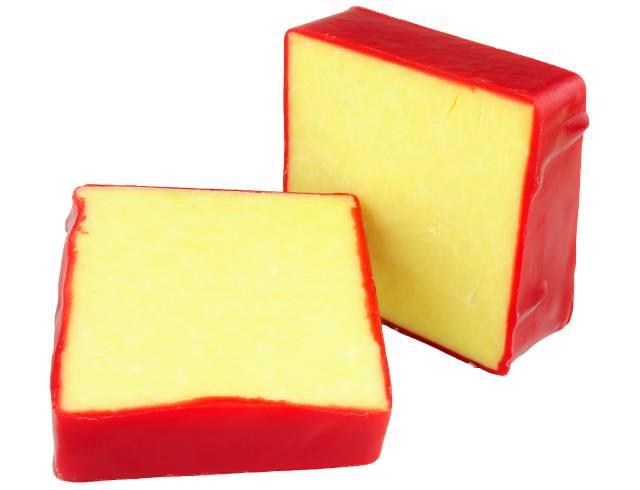 Squares of Monterey Jack Cheese.