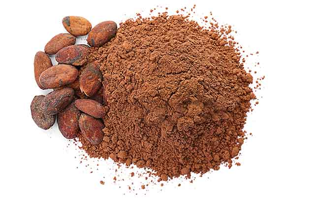Cocoa Powder On a White Background.