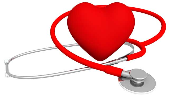 A Cushion Material Heart and Stethoscope.
