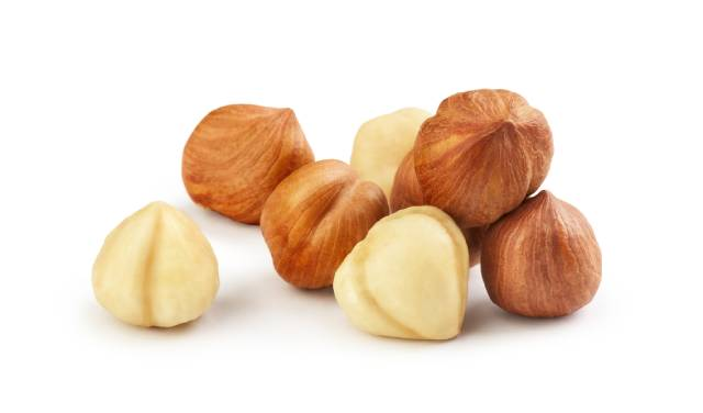 Pile of Hazelnuts: With and Without Skin.