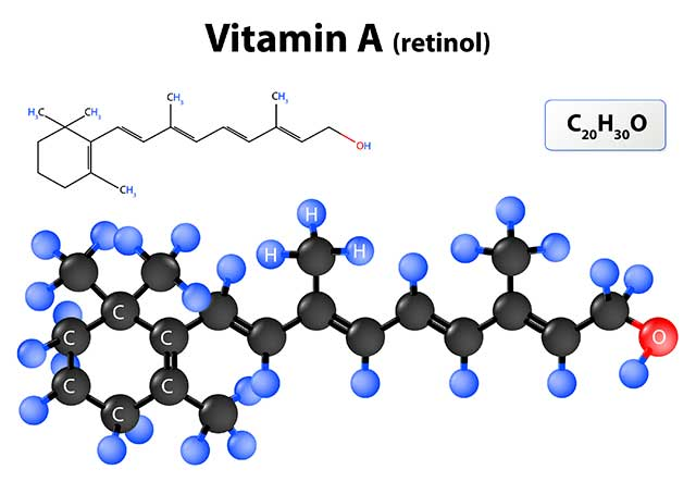 The Molecular Structure For the Retinol Form of Vitamin A.