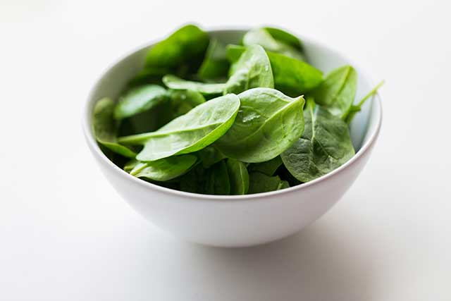 Spinach Leaves In a White Bowl.