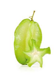 A Whole Green Unripe Star Fruit.