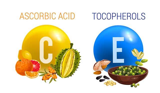Illustration of Vitamin C (Ascorbic Acid) and Vitamin E (Tocopherols).