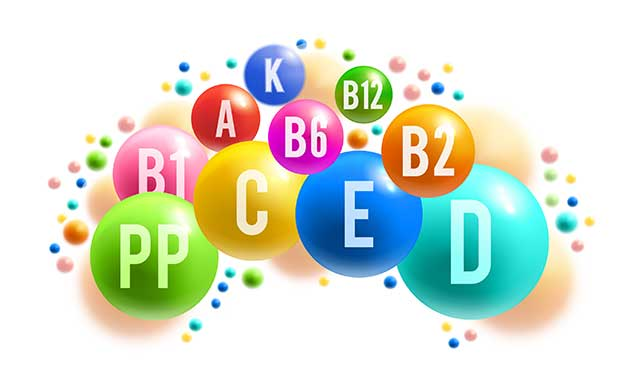 Vitamin and Mineral Names in Colored Bubbles.