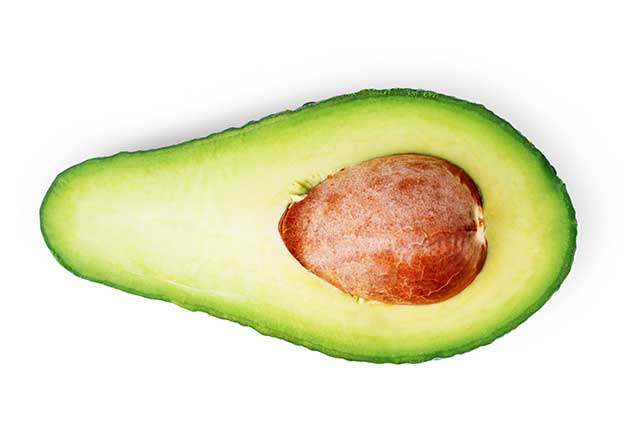 An Avocado Half Showing the Stone in the Middle.