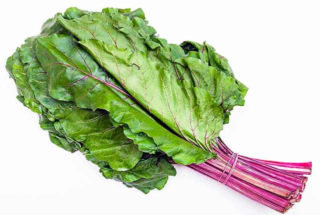 A Bunch of Beet Greens Tied Together.